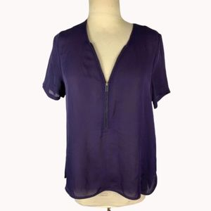 The Kooples Half Zip Purple Silk Blouse M